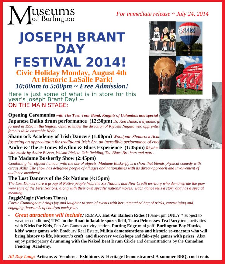 Joseph Brant Day  Festival 2014