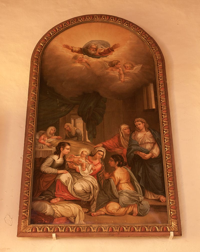 Auderville_Parish_Church_Saint_Gilles_Nave_Painting_Nativity_of_Mary_2010_08_30