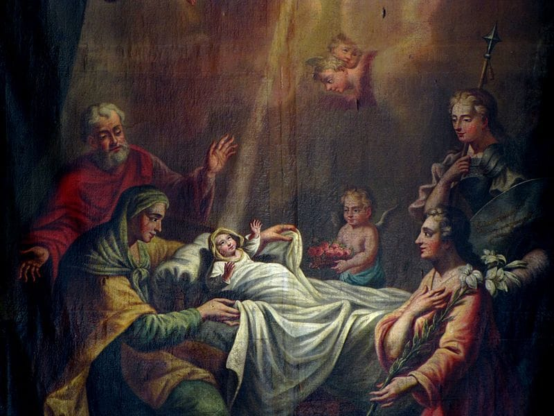 "Jean-Jacques Sorg painted 'The Birth of Mother Mary - Nativité de la Vierge""  for Eglise Saint-Etienne, Rosheim"