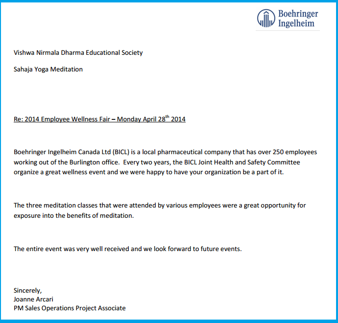 Appreciation Letter from BICL