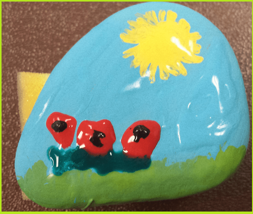 Rock painted during the Cool Kids class - feb 2015
