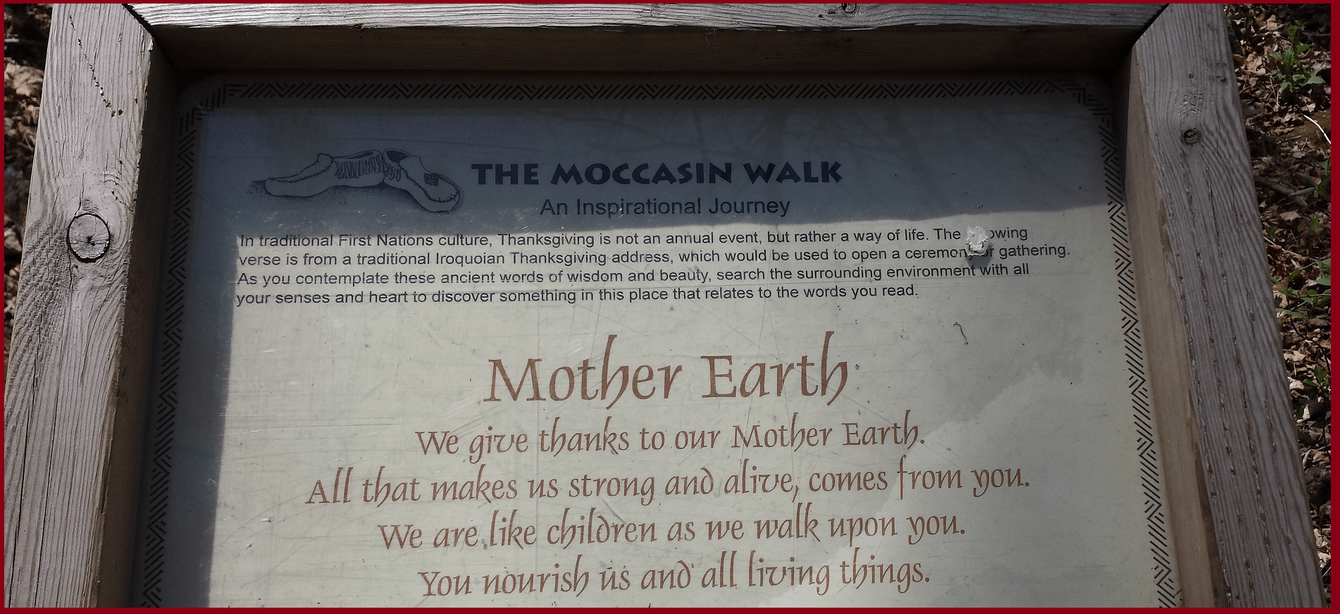 Aboriginal Wisdom about Mother Earth- Crawford lake Halton