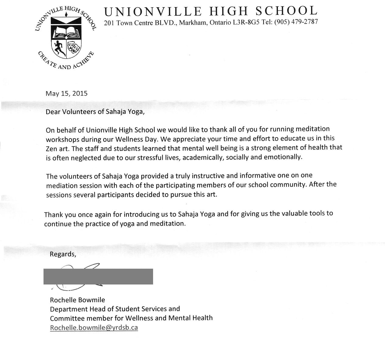appreciation letter from unionsville highschool _markham web