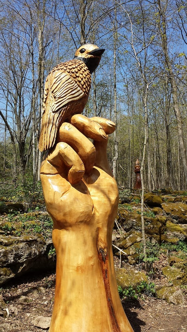Scupture by aboriginal artist at Crawford Lake