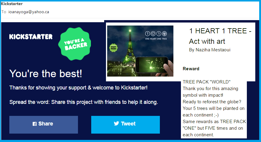 Backer Pledge One heart One tree