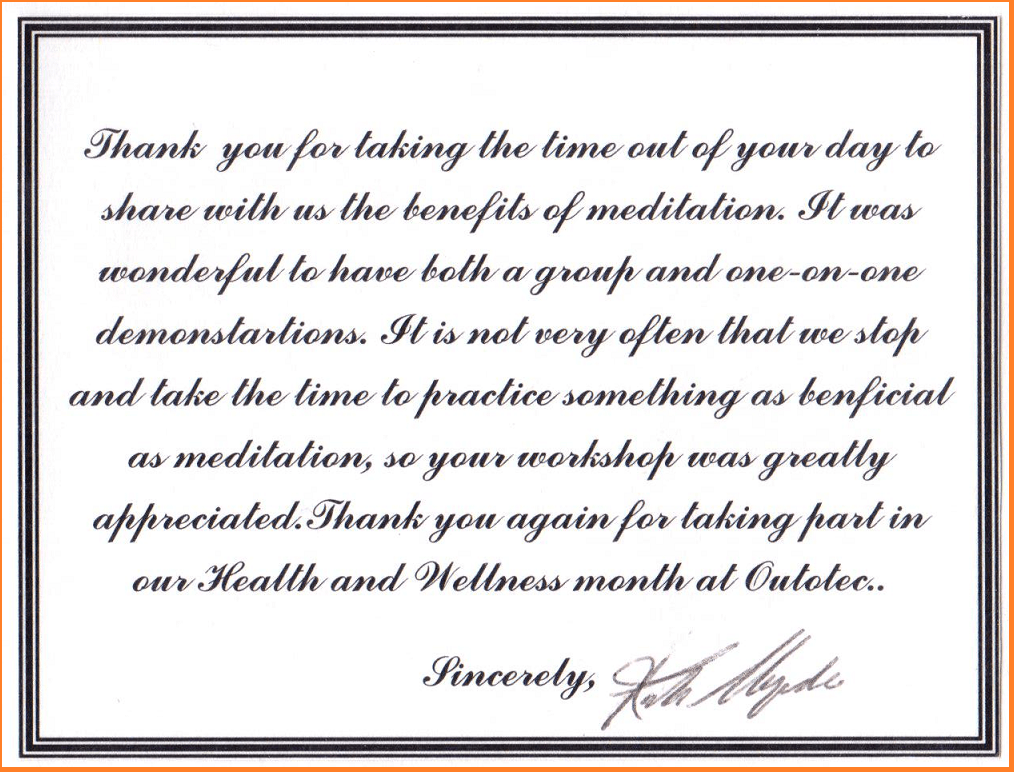 Thank you -HR Outotec to Sahaja Yoga Meditation -Halton