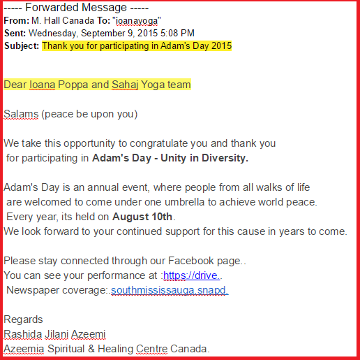 Appreciaton Letter -2015 from Azeemi Sufi Canada