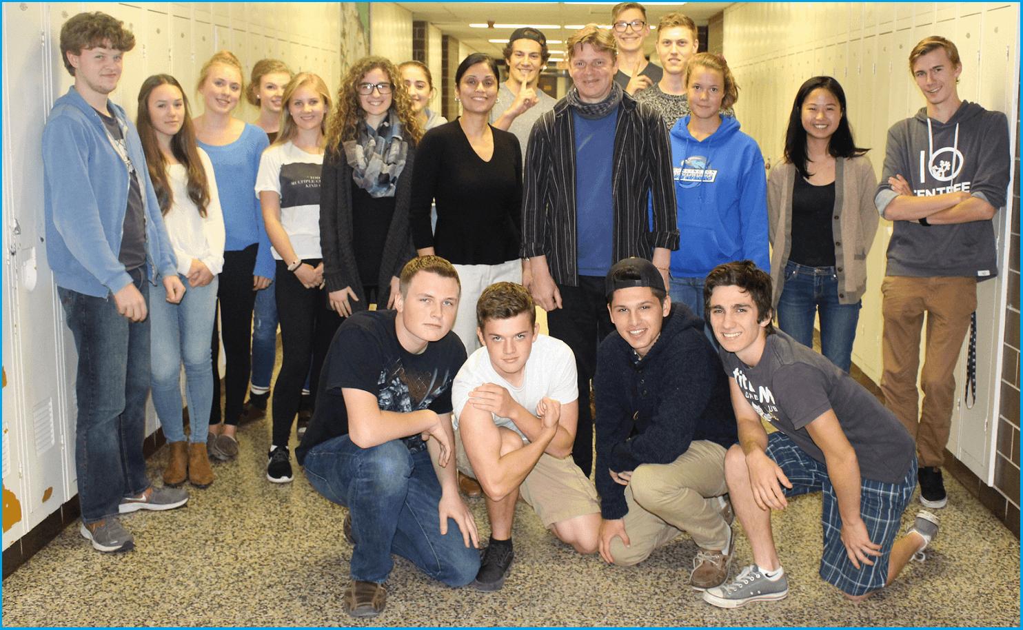 "Photo Group at Aldershot Highschool Oct 2015 with Tim Bruce; ""Music and Sahaja Yoga meditation workshops"""