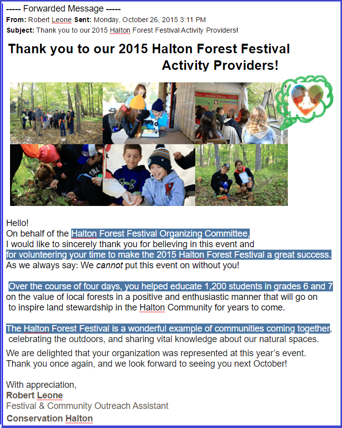 Email from Robert Leone -Halton Forest Festival 2015