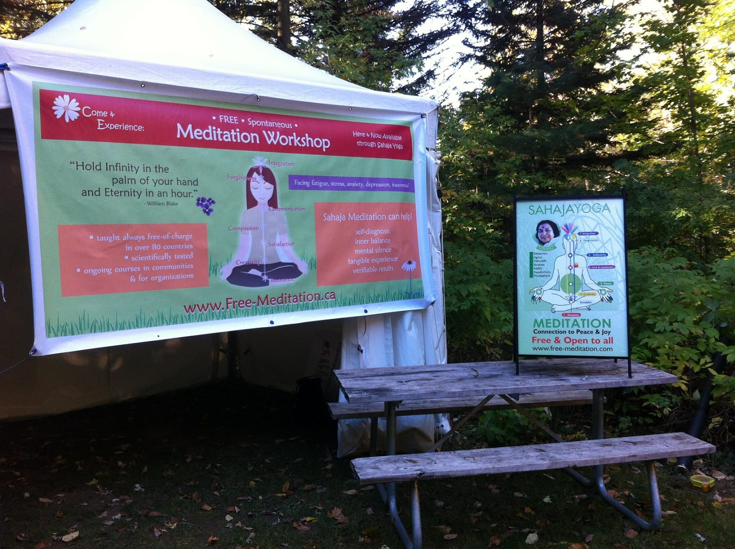 Sahaja Yoga meditation booth at Halton Forest Festival 2015