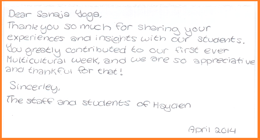 Thank you Letter from Hayden School from Staff - 2014