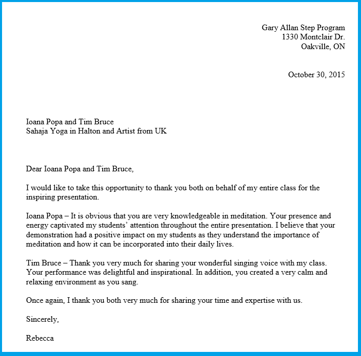 Thank You Letter From Teacher Gary Allan Step Program Oakville 2015
