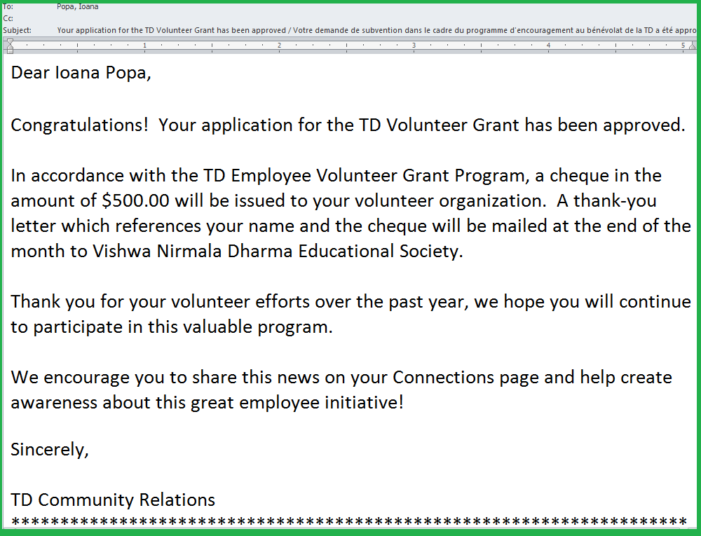 Letter from TD Community Relations