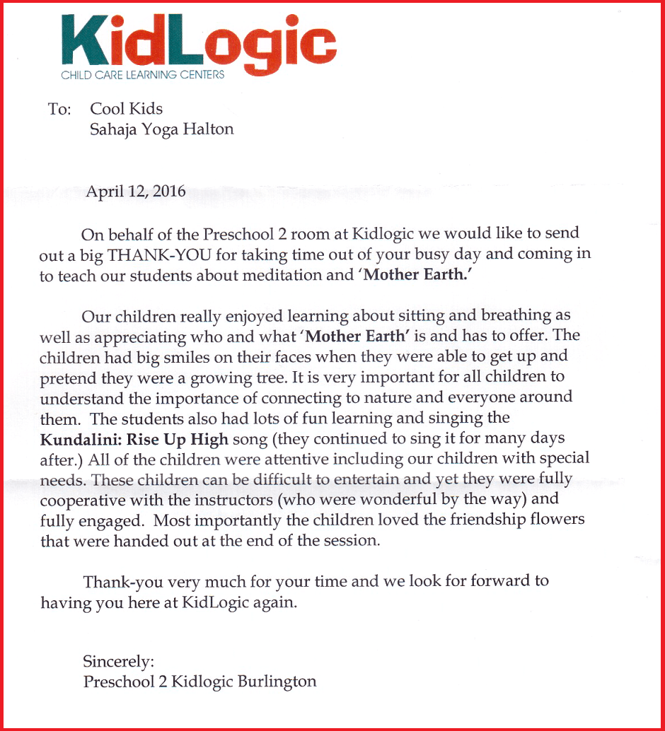 Cool Kids Thank you Letter -- Kid Logic Burlington