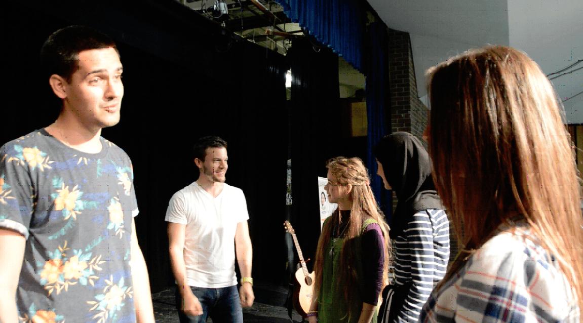 Yoann Frejay talking to fans at White Oaks highschool1